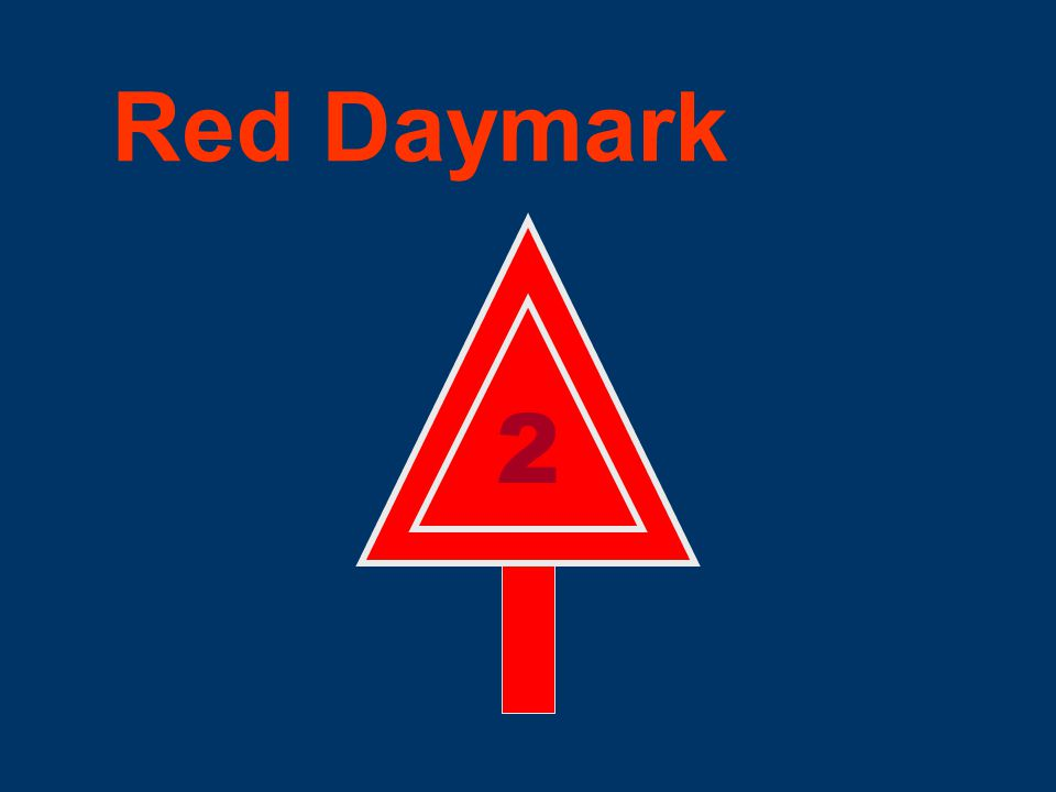 Definition of a Daymark The daytime identifier of an aid to navigation presenting one of several colors, shapes, numerals or letters. Shape may be squ