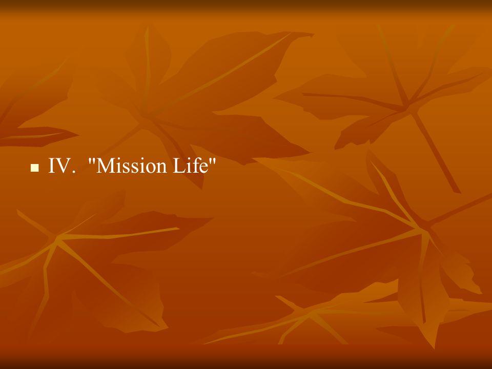 IV. Mission Life