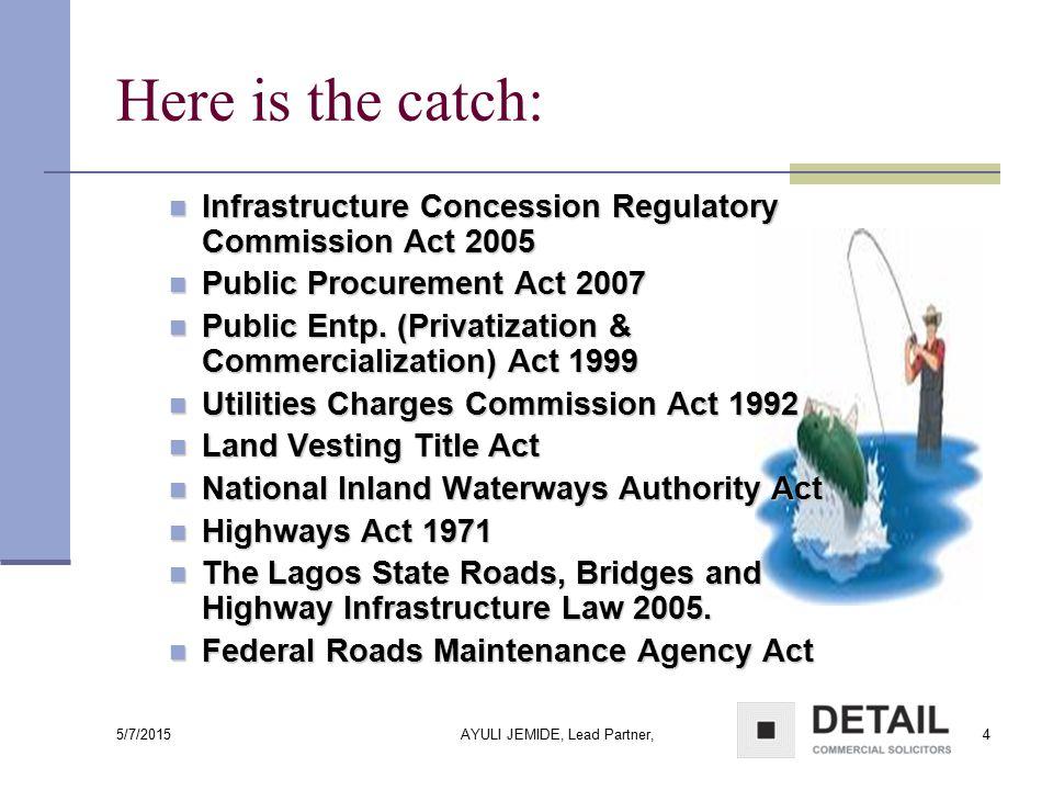 5/7/2015 AYULI JEMIDE, Lead Partner,25 National Inland Waterways Authority Act Inland Waterways are vested in the Federal Government – National Inland Waterways Authority.