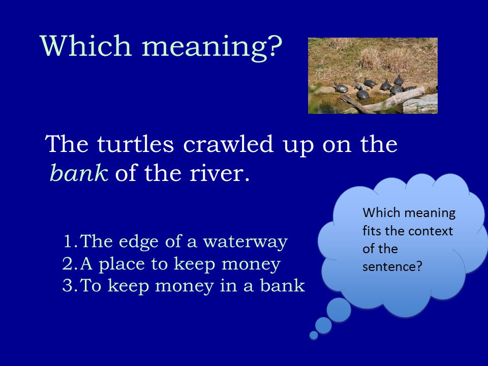 Which meaning? The turtles crawled up on the bank of the river. 1.The edge of a waterway 2.A place to keep money 3.To keep money in a bank Which meani