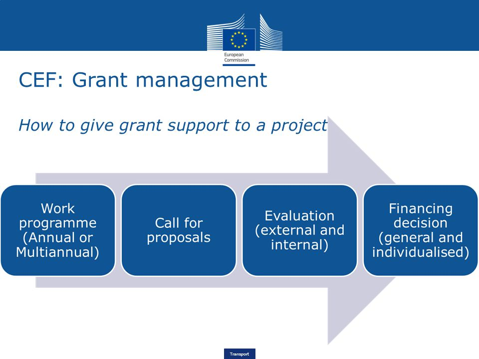 Transport CEF: Grant management How to give grant support to a project