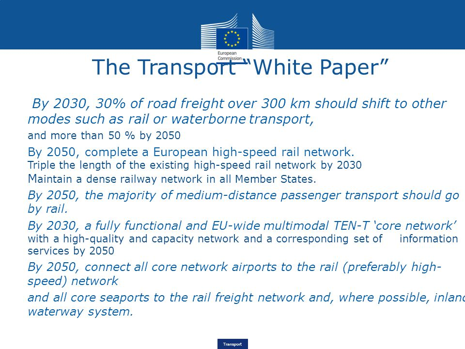Transport By 2030, 30% of road freight over 300 km should shift to other modes such as rail or waterborne transport, and more than 50 % by 2050 By 2050, complete a European high-speed rail network.