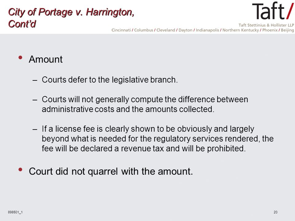 898501_120 City of Portage v. Harrington, Cont'd Amount –Courts defer to the legislative branch.