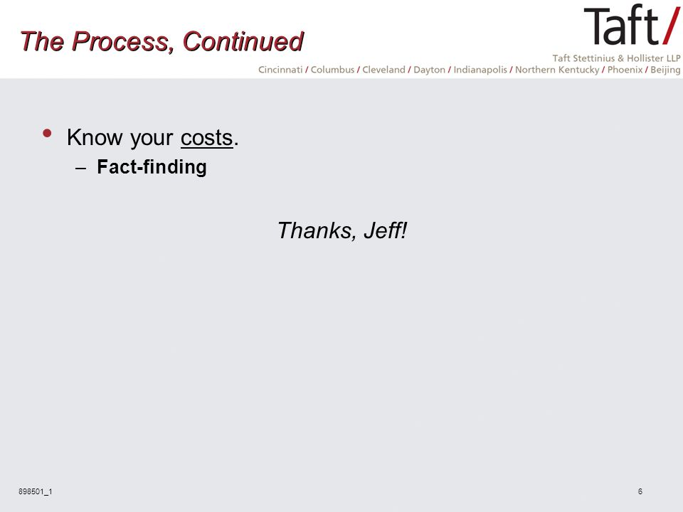 898501_16 The Process, Continued Know your costs. –Fact-finding Thanks, Jeff!