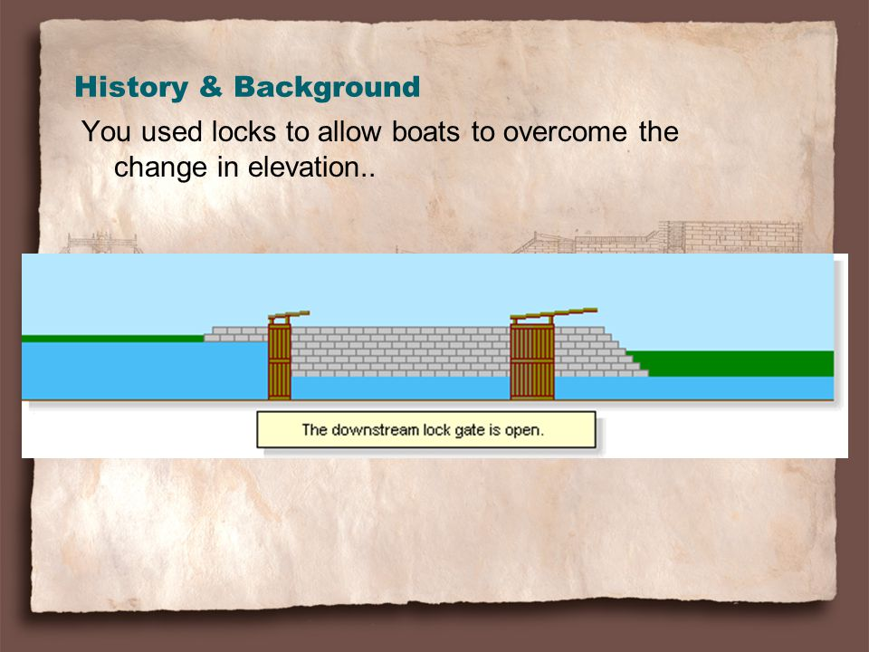 History & Background You used locks to allow boats to overcome the change in elevation..