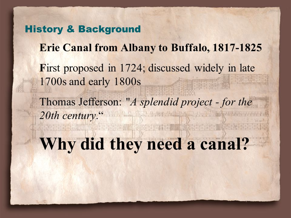 Erie Canal from Albany to Buffalo, 1817-1825 First proposed in 1724; discussed widely in late 1700s and early 1800s Thomas Jefferson: A splendid project - for the 20th century. Why did they need a canal