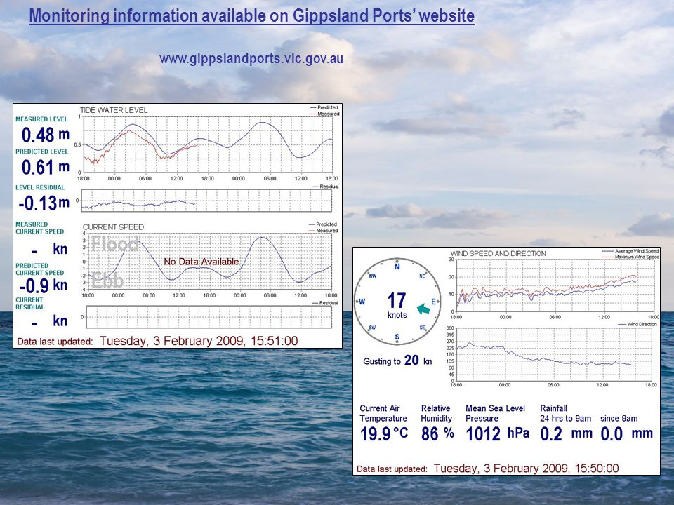 Monitoring information available on Gippsland Ports' website www.gippslandports.vic.gov.au