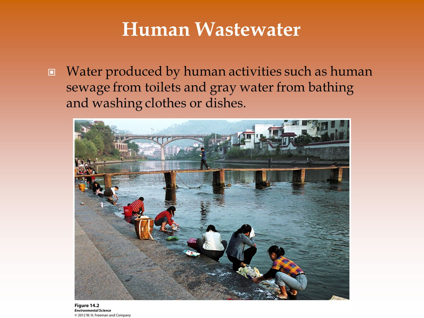 Three reasons scientists are concerned about human wastewater: Oxygen-demanding wastes like bacteria that put a large demand for oxygen in the water Nutrients that are released from wastewater decomposition can make the water more fertile causing eutrophication Wastewater can carry a wide variety of disease- causing organisms.
