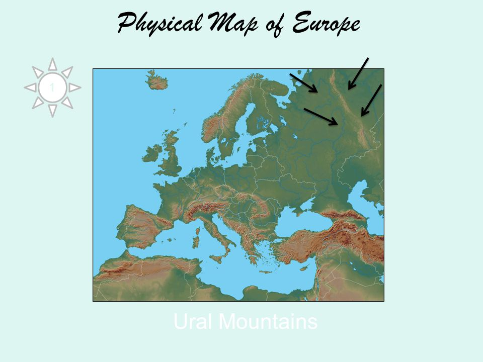 Physical Map of Europe Ural Mountains 1