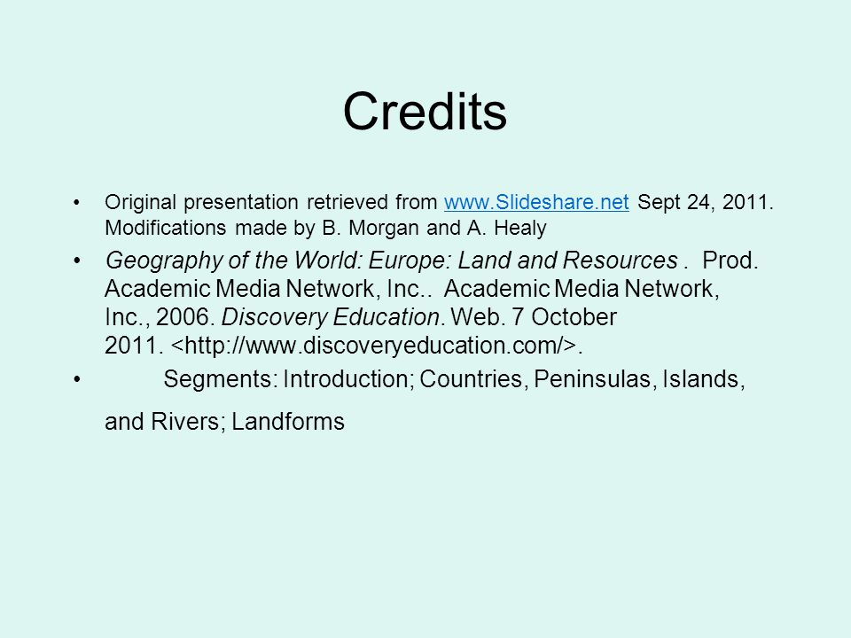 Credits Original presentation retrieved from   Sept 24, 2011.