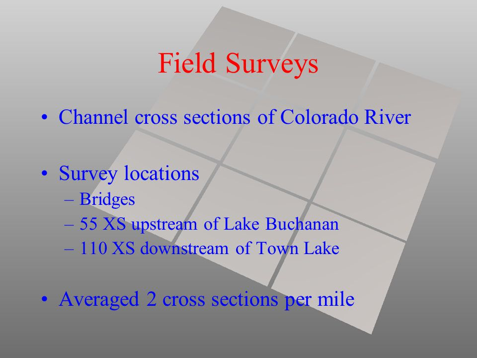 Field Surveys Channel cross sections of Colorado River Survey locations –Bridges –55 XS upstream of Lake Buchanan –110 XS downstream of Town Lake Averaged 2 cross sections per mile