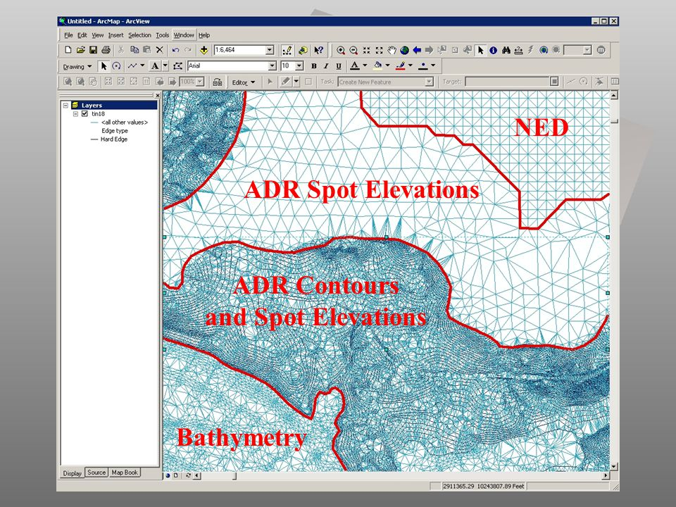 NED ADR Spot Elevations ADR Contours and Spot Elevations Bathymetry