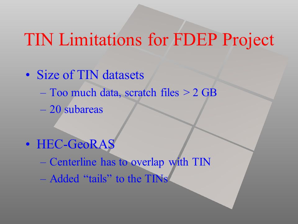 TIN Limitations for FDEP Project Size of TIN datasets –Too much data, scratch files > 2 GB –20 subareas HEC-GeoRAS –Centerline has to overlap with TIN –Added tails to the TINs