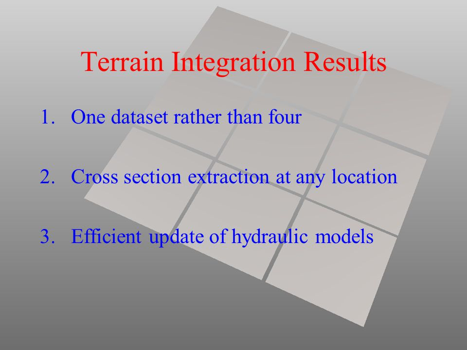 Terrain Integration Results 1.One dataset rather than four 2.Cross section extraction at any location 3.Efficient update of hydraulic models