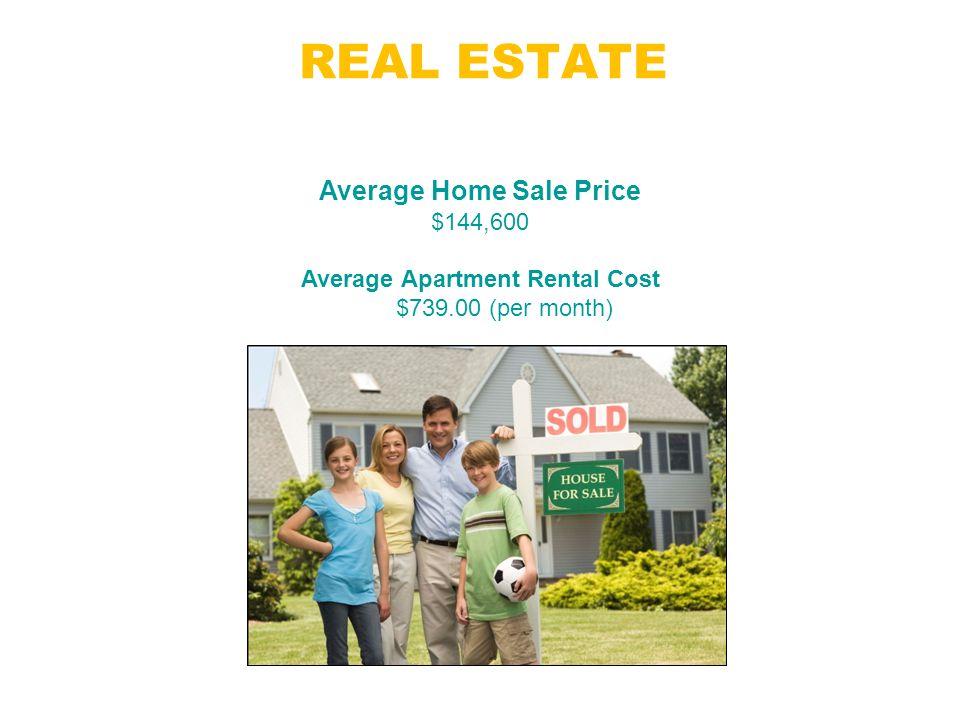 REAL ESTATE Jacksonville, FL Average Home Sale Price $144,600 Average Apartment Rental Cost $739.00 (per month)