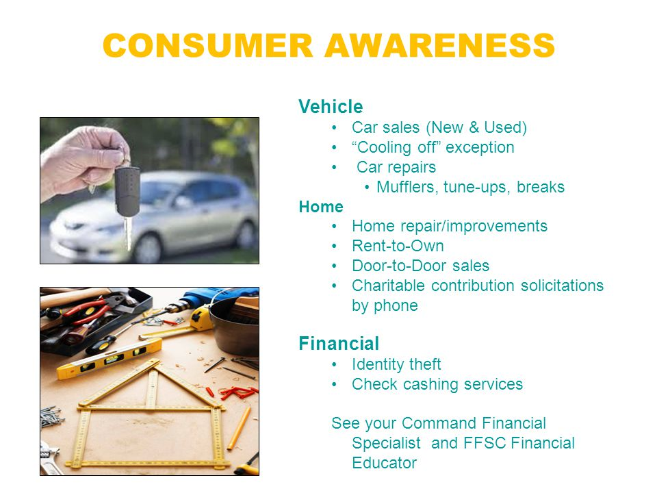 """CONSUMER AWARENESS Florida is known as the """"Sunshine State""""….STILL buyers beware! Vehicle Car sales (New & Used) """"Cooling off"""" exception Car repairs M"""