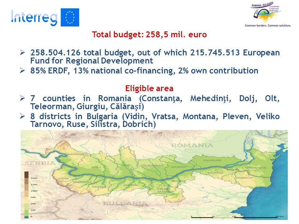 Total budget: 258,5 mil. euro  258.504.126 total budget, out of which 215.745.513 European Fund for Regional Development  85% ERDF, 13% national co-