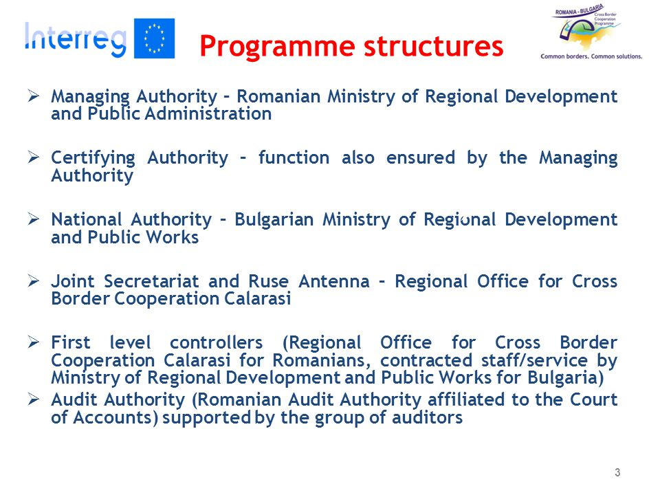 Programme structures  Managing Authority – Romanian Ministry of Regional Development and Public Administration  Certifying Authority – function also