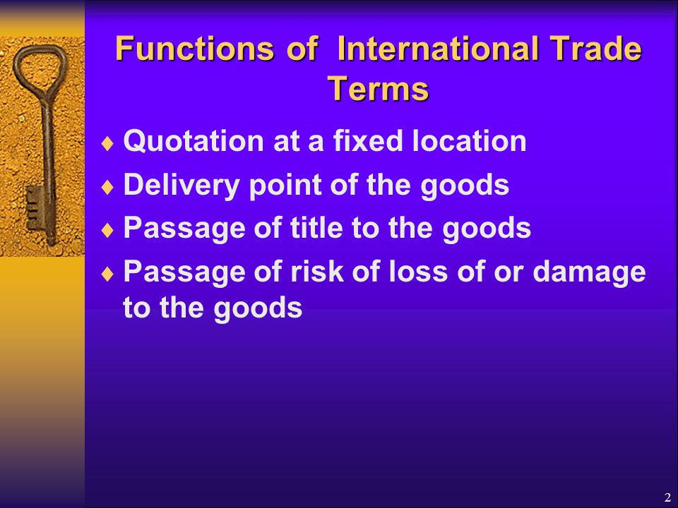 3 American Foreign Trade Definitions of 1990 American Foreign Trade Definitions of 1990 Understand but don't use them in international trade  EXW (Point of Origin): EX Factory or Warehouse  FOB (Free On Board)  FOB (name inland carrier at named inland point of departure)  FOB (same plus Freight Prepaid to named point of exportation)  FOB (same plus Freight Allowed to (name point of exportation) Freight collect