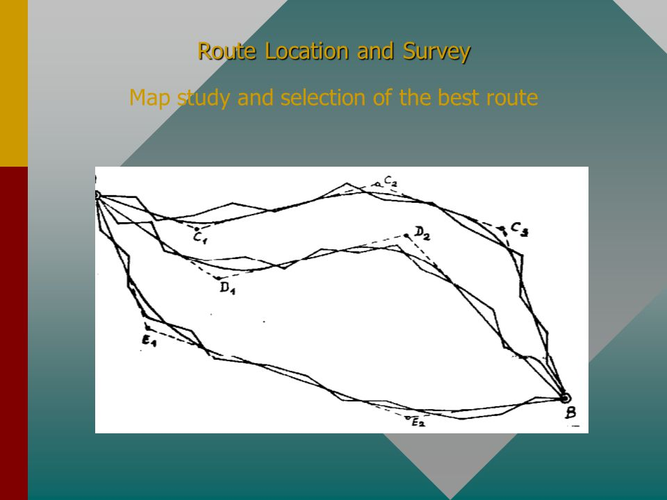 Route Location and Survey Route Location and Survey Map study and selection of the best route The polygonal lines thus selected should be than compensated, as shown in the next slide, in order to reduce the number of the tangents and of the angles, the compensated route getting an average gradient whites usually is greater than the study gradient g s but less or at least equal with the maximum allowable gradient g a ; finally these compensated routes shall by studied in detail, with the consideration of the longitudinal and transverse profiles.