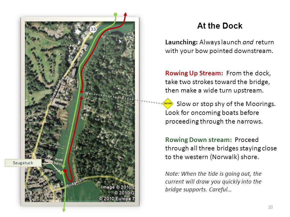 10 At the Dock Launching: Always launch and return with your bow pointed downstream.