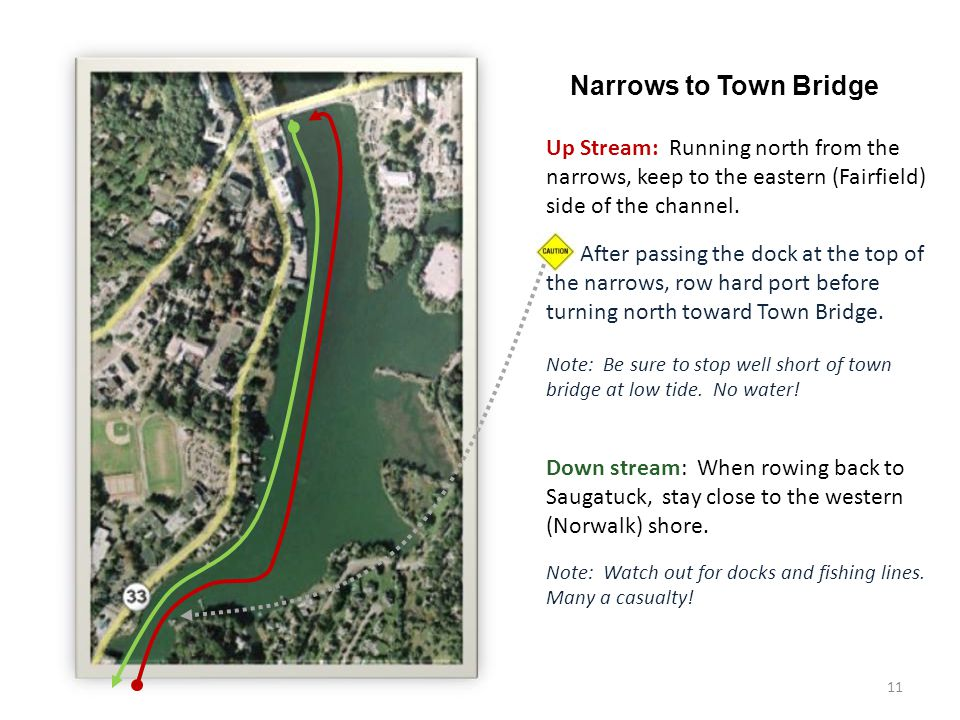 11 Narrows to Town Bridge Up Stream: Running north from the narrows, keep to the eastern (Fairfield) side of the channel.