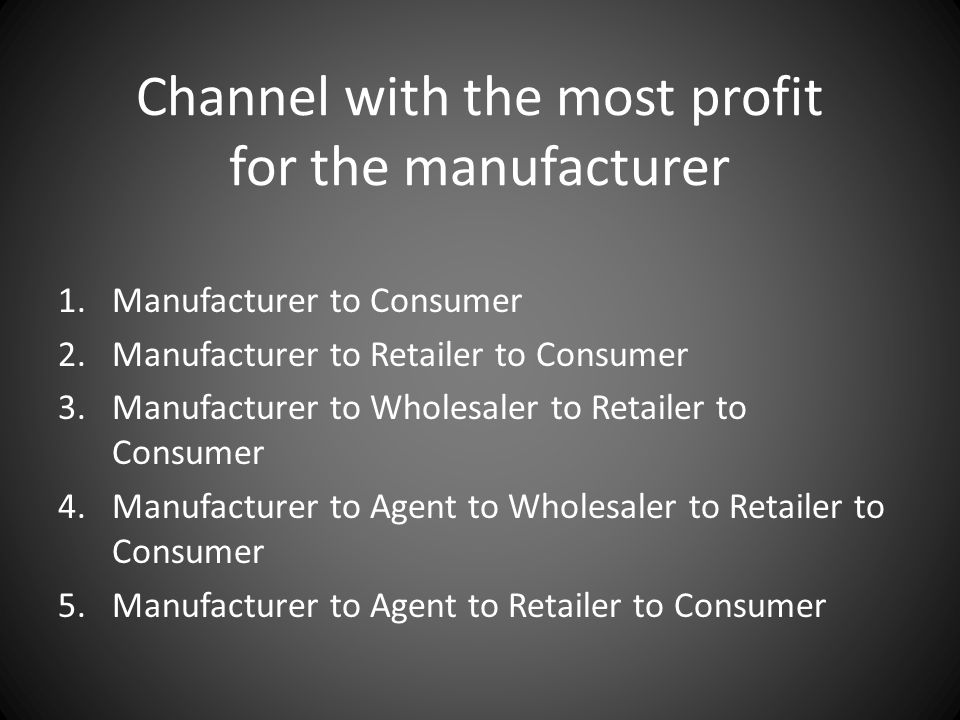 Channel with the most profit for the manufacturer 1.Manufacturer to Consumer 2.Manufacturer to Retailer to Consumer 3.Manufacturer to Wholesaler to Re