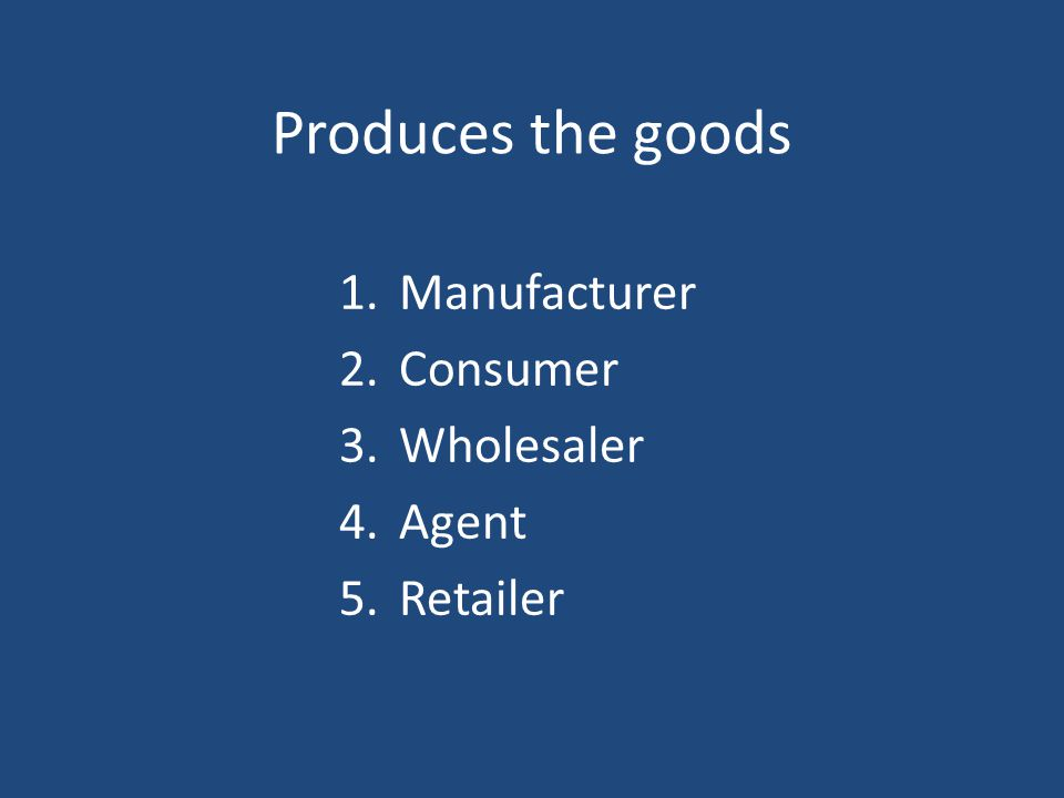 Produces the goods 1.Manufacturer 2.Consumer 3.Wholesaler 4.Agent 5.Retailer