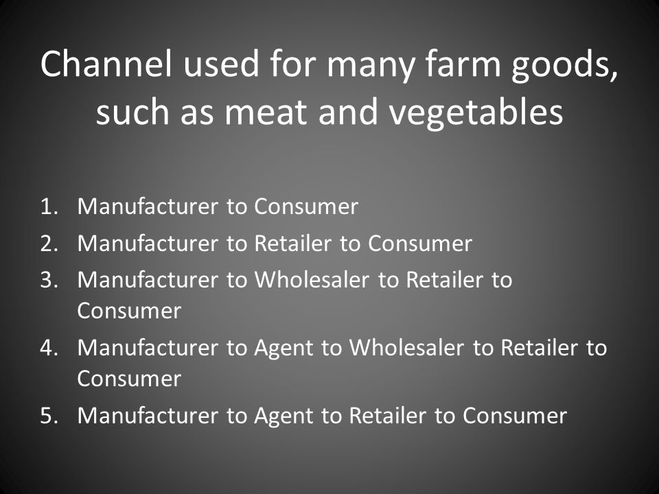 Channel used for many farm goods, such as meat and vegetables 1.Manufacturer to Consumer 2.Manufacturer to Retailer to Consumer 3.Manufacturer to Whol