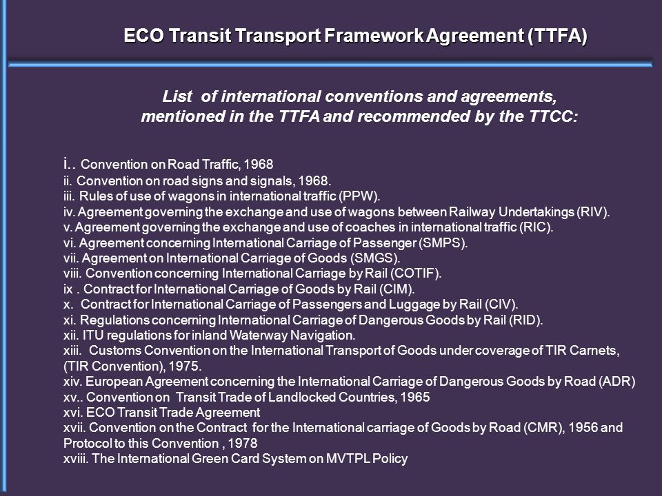 ECO Transit Transport Framework Agreement (TTFA) i..