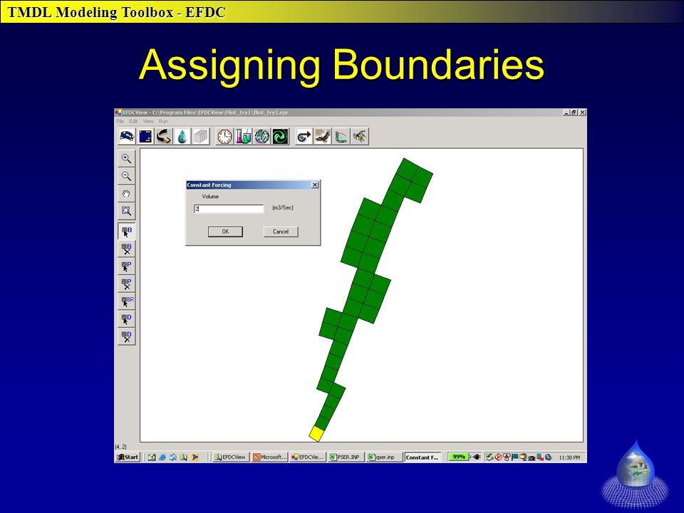 TMDL Modeling Toolbox - EFDC Assigning Boundaries