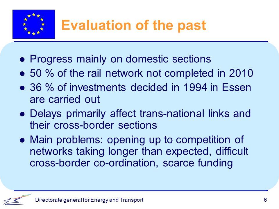 Directorate general for Energy and Transport17 Financial framework: investment needs € 225 billion until 2020