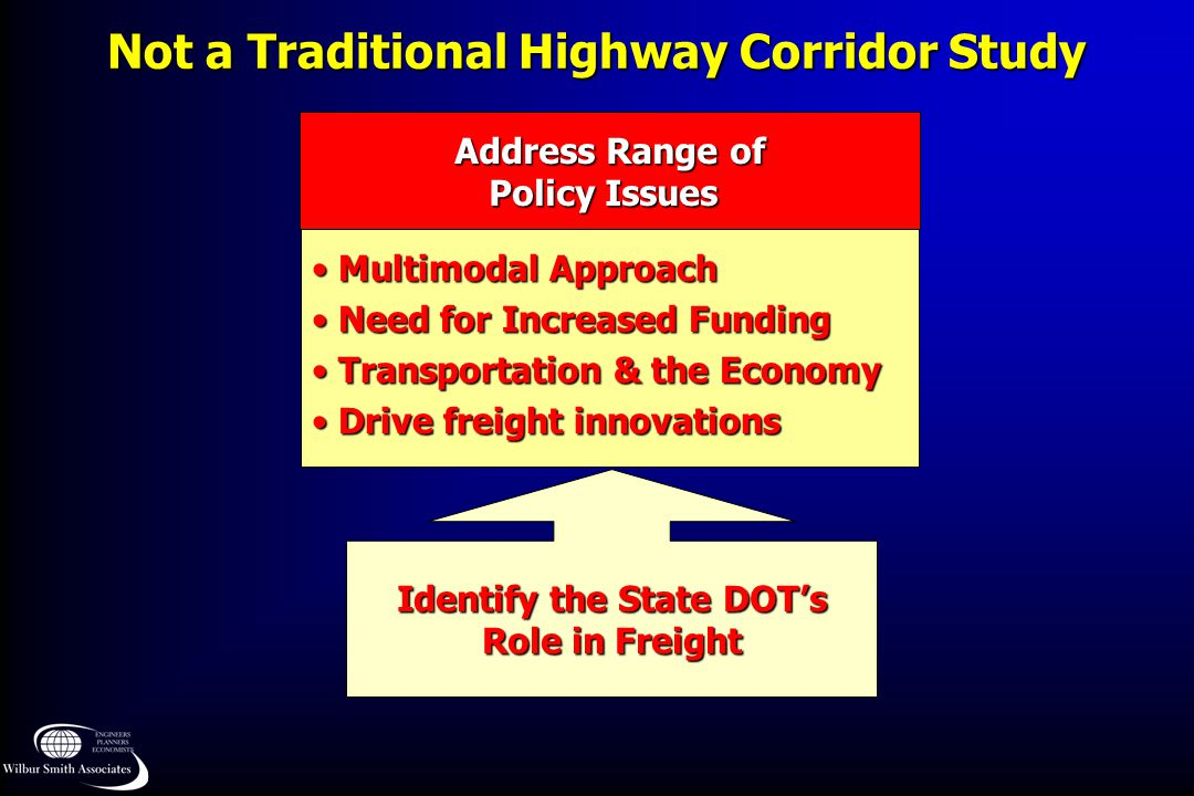 Not a Traditional Highway Corridor Study Multimodal Approach Multimodal Approach Need for Increased Funding Need for Increased Funding Transportation