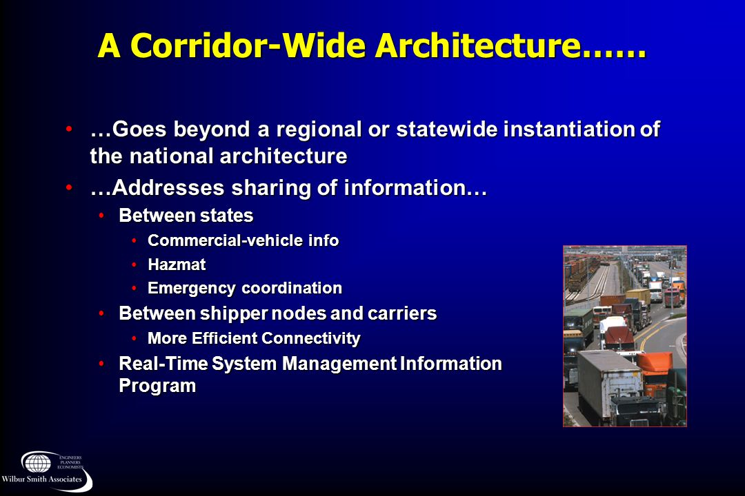 A Corridor-Wide Architecture…… …Goes beyond a regional or statewide instantiation of the national architecture…Goes beyond a regional or statewide ins
