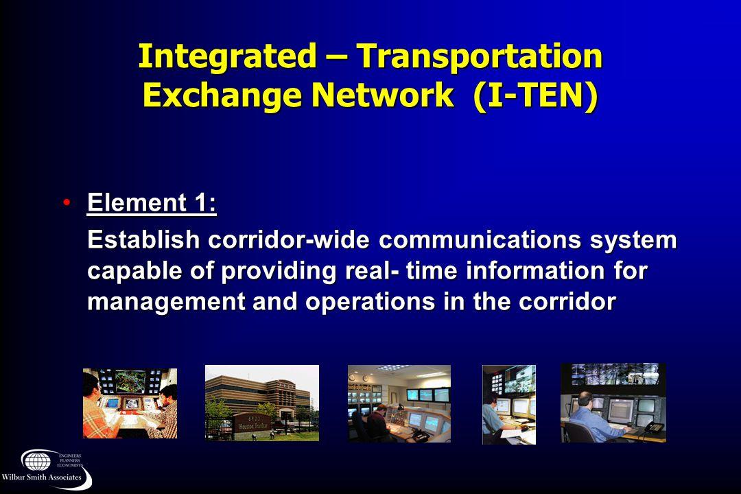 Integrated – Transportation Exchange Network (I-TEN) Element 1:Element 1: Establish corridor-wide communications system capable of providing real- tim