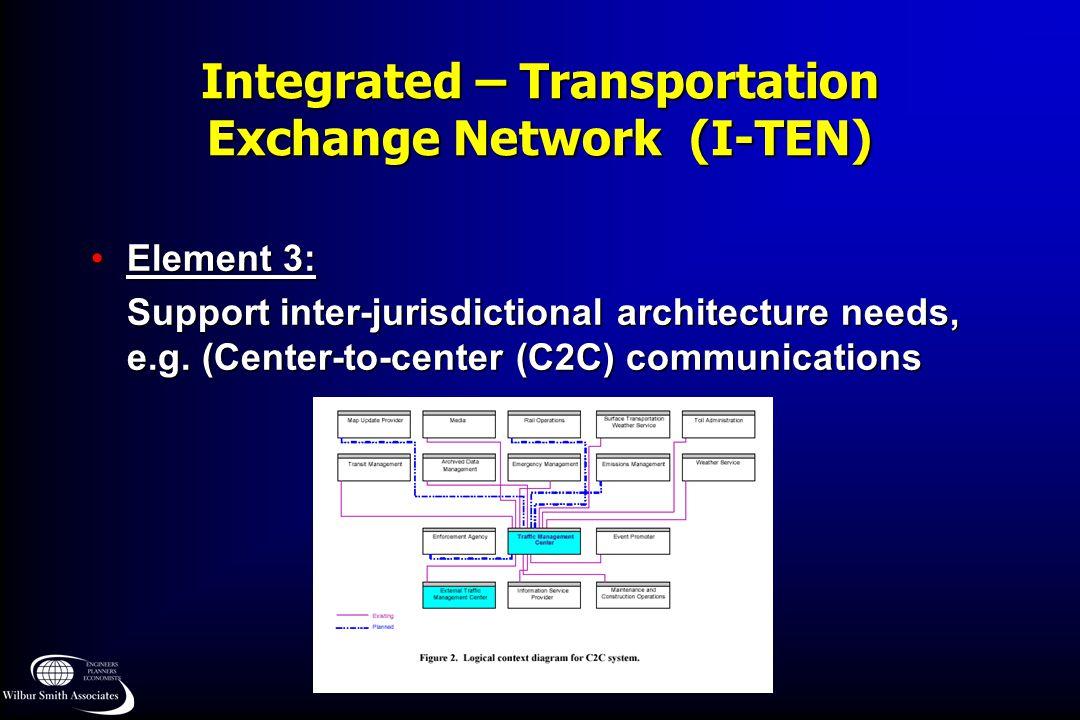 Integrated – Transportation Exchange Network (I-TEN) Element 3:Element 3: Support inter-jurisdictional architecture needs, e.g. (Center-to-center (C2C