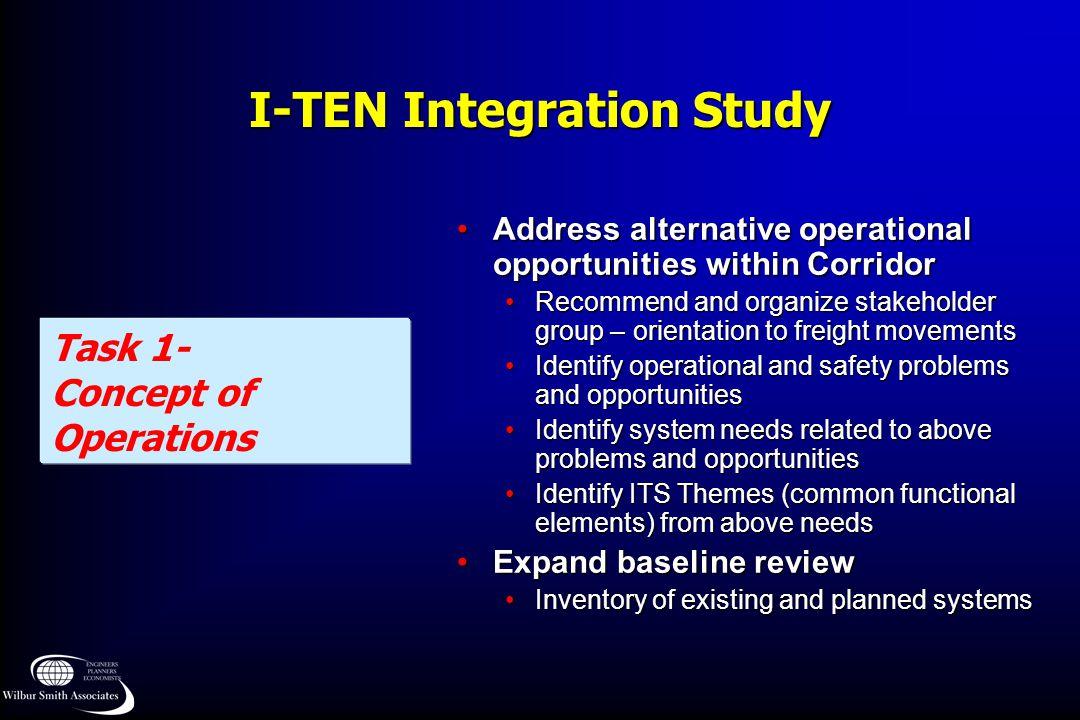 I-TEN Integration Study Task 1- Concept of Operations Address alternative operational opportunities within CorridorAddress alternative operational opp