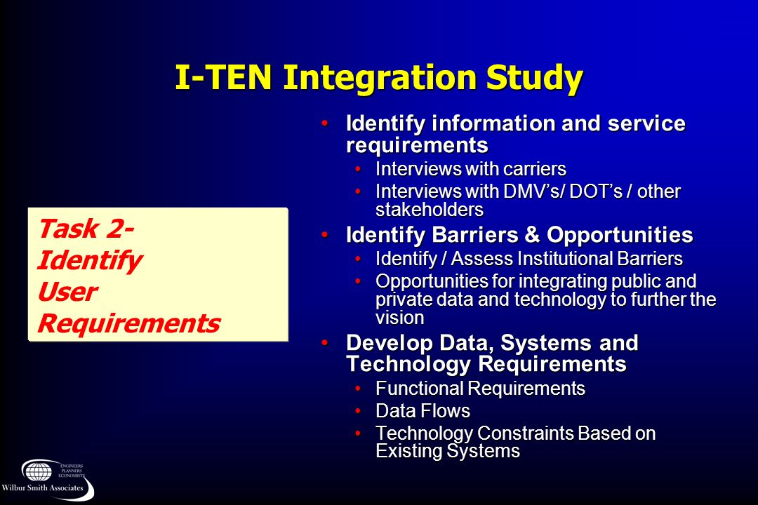 I-TEN Integration Study Task 2- Identify User Requirements Identify information and service requirementsIdentify information and service requirements