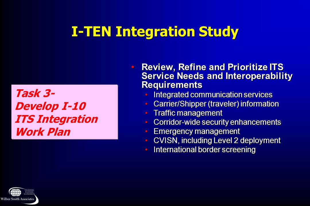 I-TEN Integration Study Task 3- Develop I-10 ITS Integration Work Plan Review, Refine and Prioritize ITS Service Needs and Interoperability Requiremen