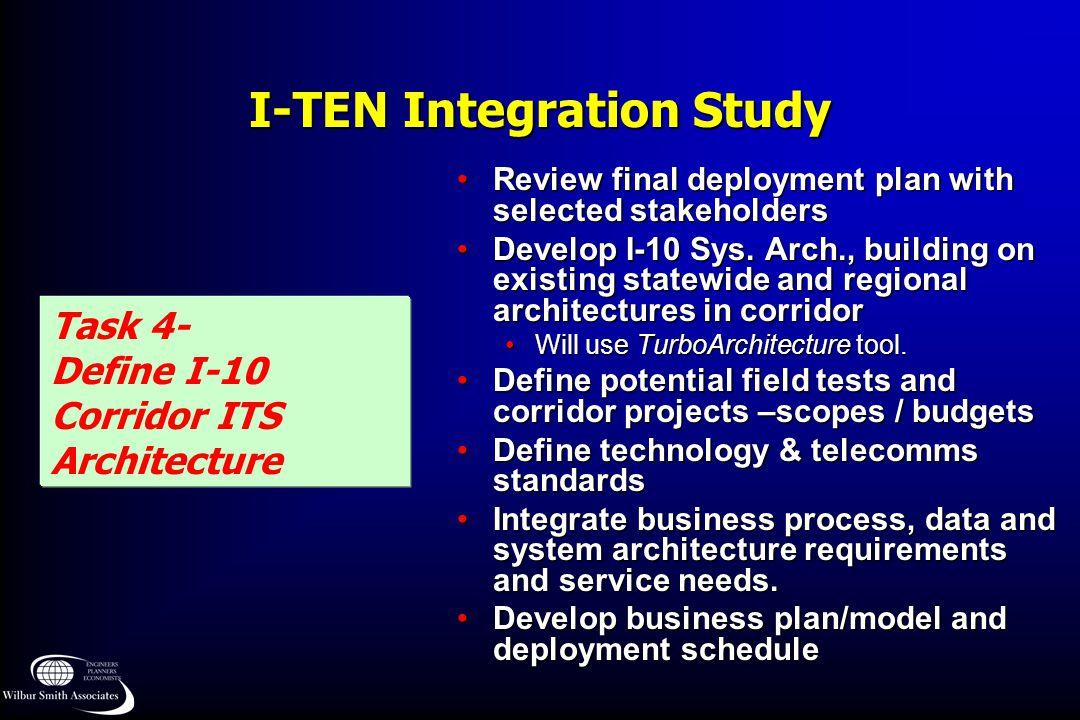 I-TEN Integration Study Task 4- Define I-10 Corridor ITS Architecture Review final deployment plan with selected stakeholdersReview final deployment p