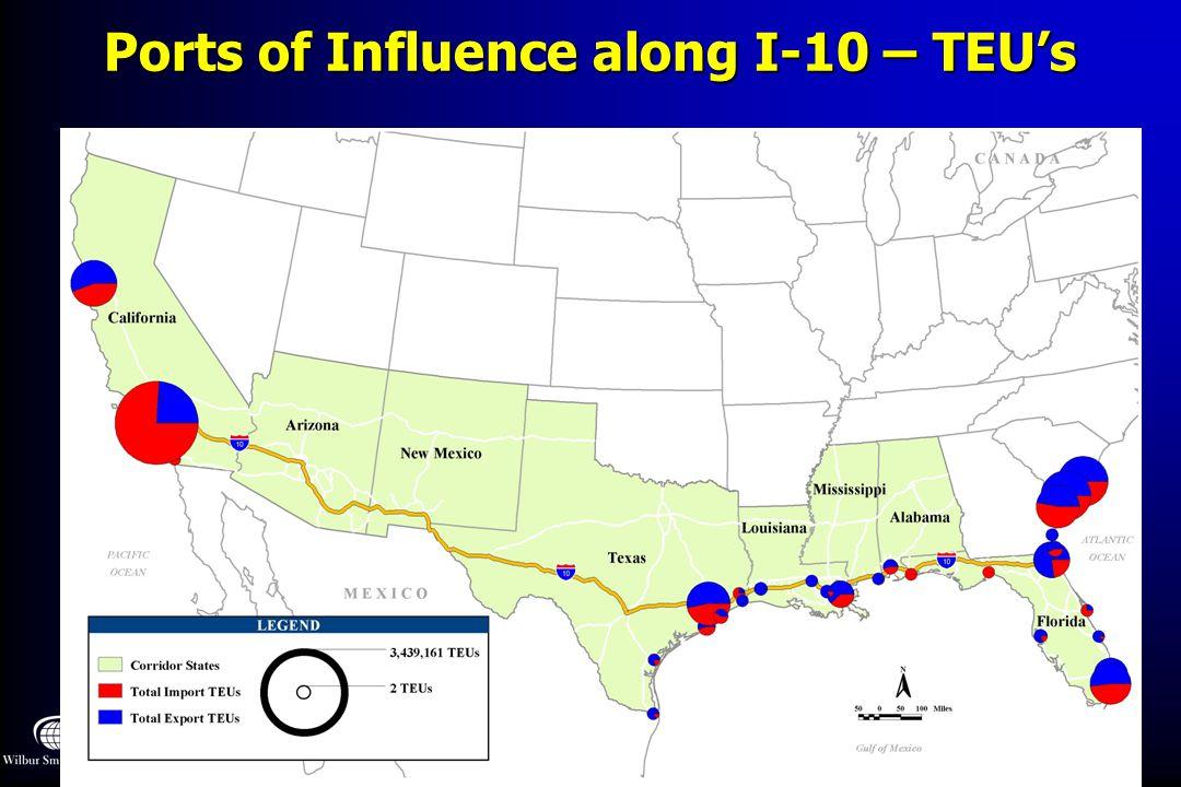 Ports of Influence along I-10 – TEU's