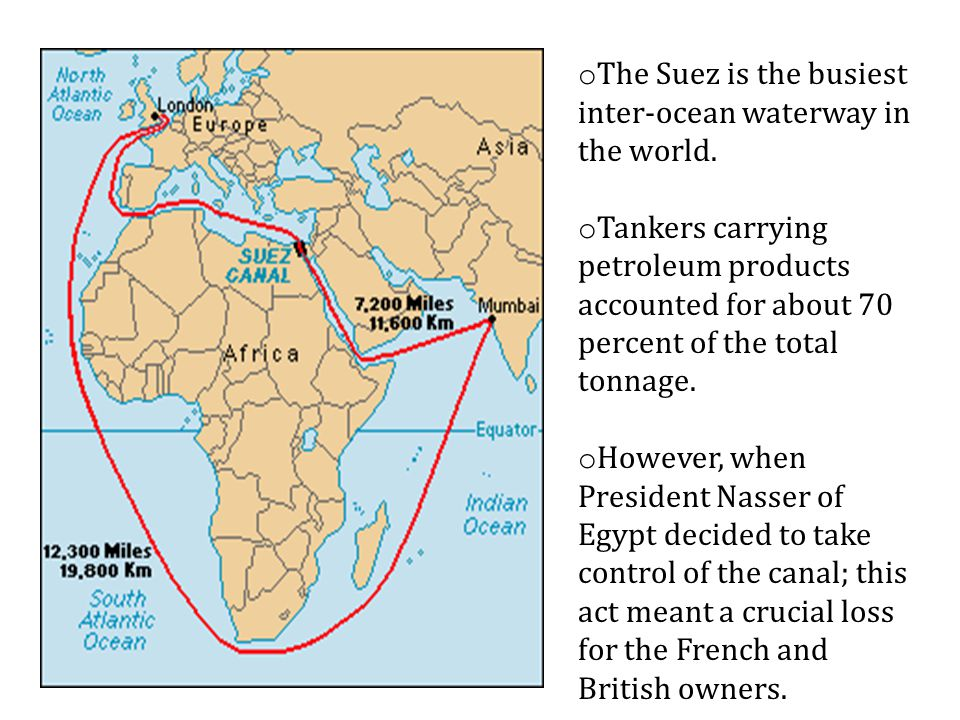 o The Suez is the busiest inter-ocean waterway in the world.