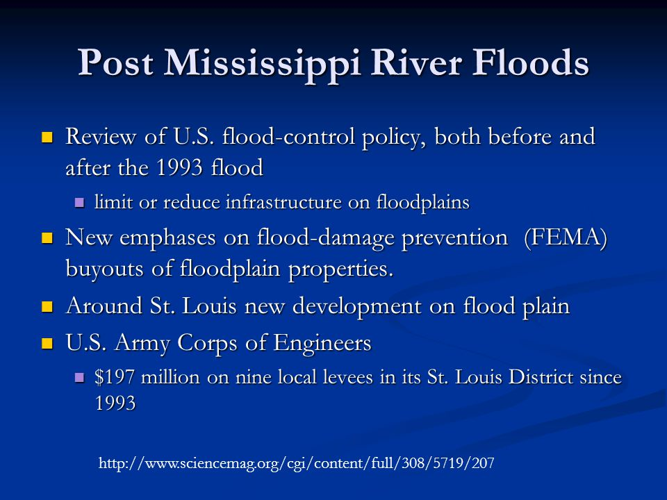 Post Mississippi River Floods Review of U.S.