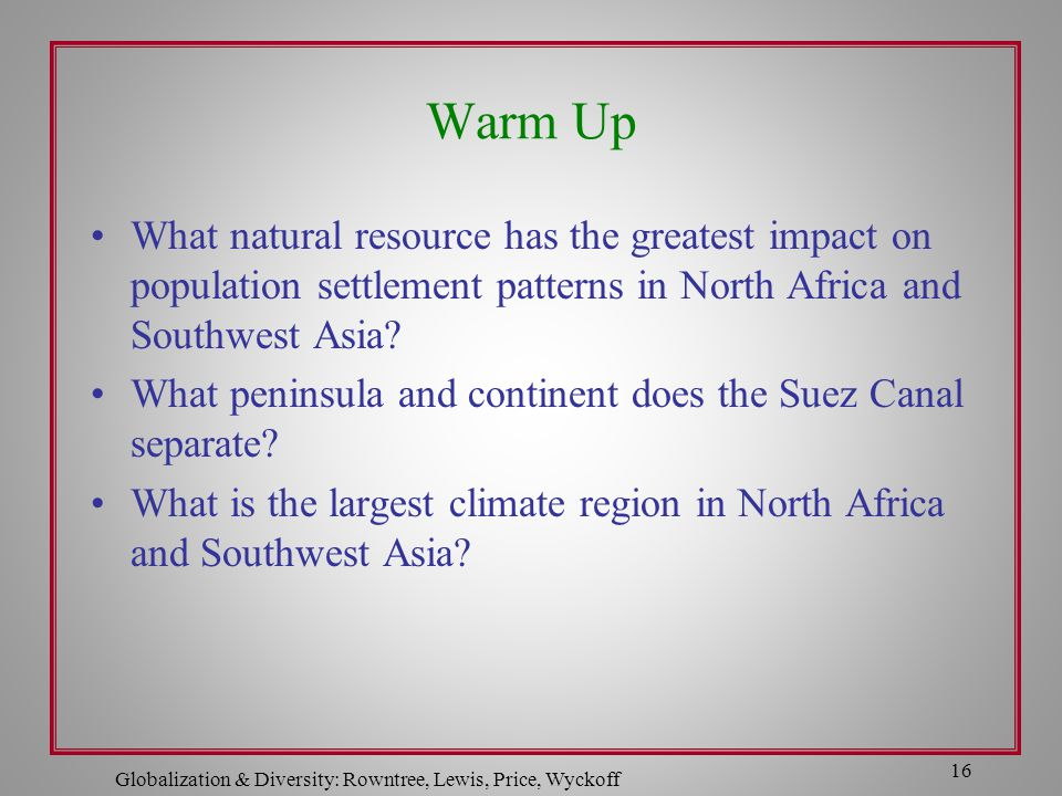 Globalization & Diversity: Rowntree, Lewis, Price, Wyckoff 16 Warm Up What natural resource has the greatest impact on population settlement patterns