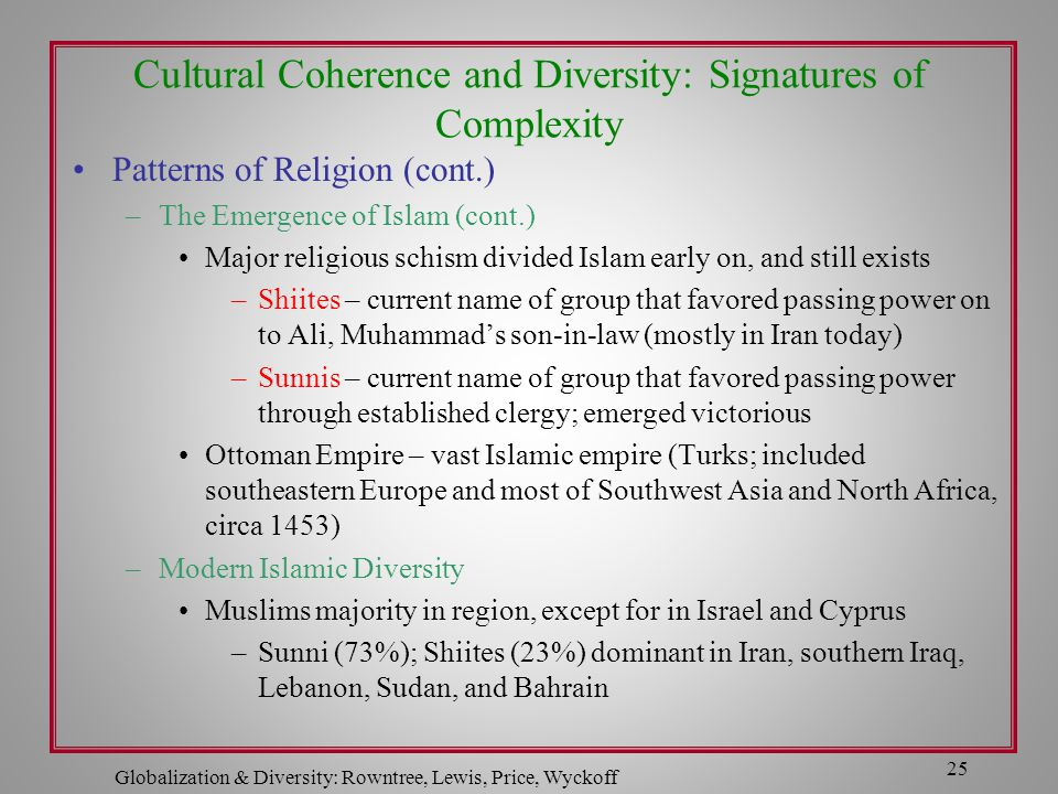 Globalization & Diversity: Rowntree, Lewis, Price, Wyckoff 25 Cultural Coherence and Diversity: Signatures of Complexity Patterns of Religion (cont.)