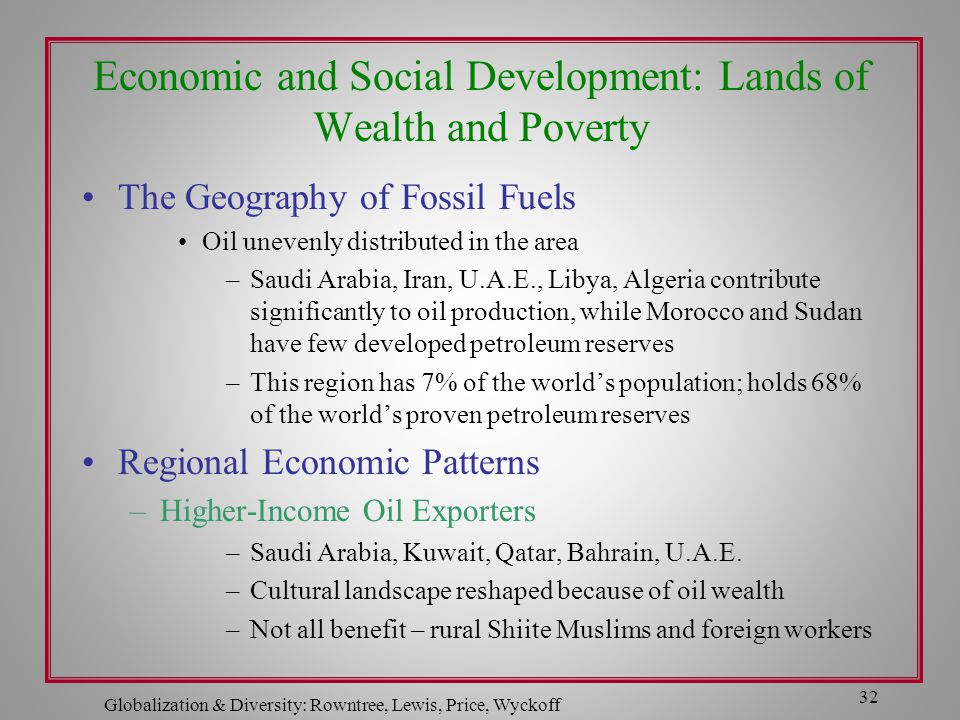 Globalization & Diversity: Rowntree, Lewis, Price, Wyckoff 32 Economic and Social Development: Lands of Wealth and Poverty The Geography of Fossil Fue