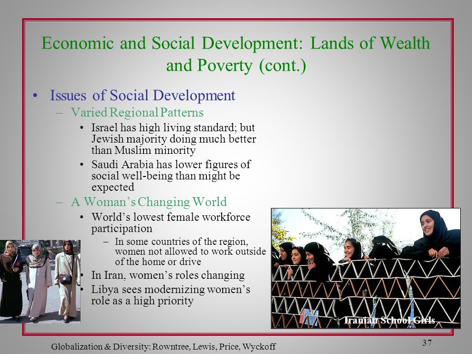 Globalization & Diversity: Rowntree, Lewis, Price, Wyckoff 37 Economic and Social Development: Lands of Wealth and Poverty (cont.) Issues of Social De