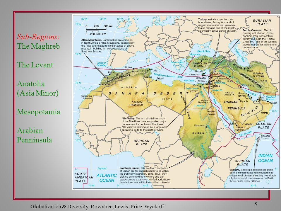 5 Sub-Regions: The Maghreb The Levant Anatolia (Asia Minor) Mesopotamia Arabian Penninsula
