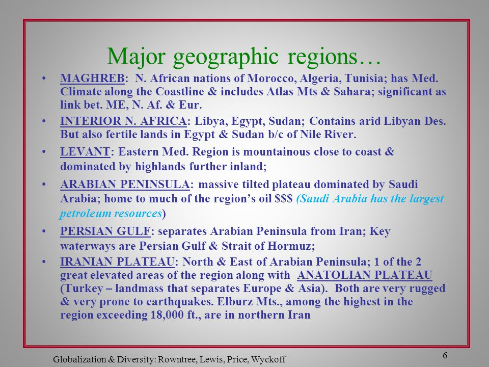 Major geographic regions… MAGHREB: N. African nations of Morocco, Algeria, Tunisia; has Med. Climate along the Coastline & includes Atlas Mts & Sahara