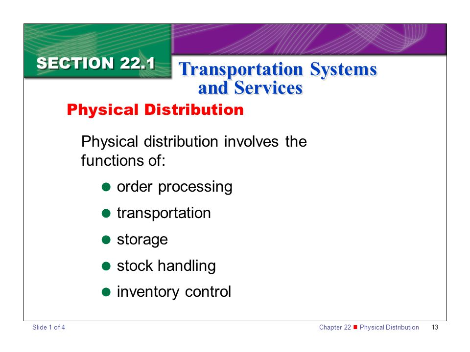 Chapter 22 Physical Distribution 13 SECTION 22.1 Transportation Systems and Services Physical distribution involves the functions of:  order processing  transportation  storage  stock handling  inventory control Physical Distribution Slide 1 of 4